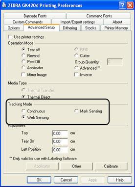 Label Sensor (Zebra Designer Driver)